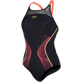 speedo Endurance+ Fit Pinnacle Xback Badeanzug Damen black/pyscho red/global gold